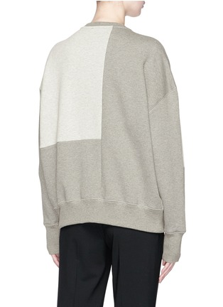 Back View - Click To Enlarge - Alexander McQueen - Lace-up trim floral embroidered patchwork sweatshirt