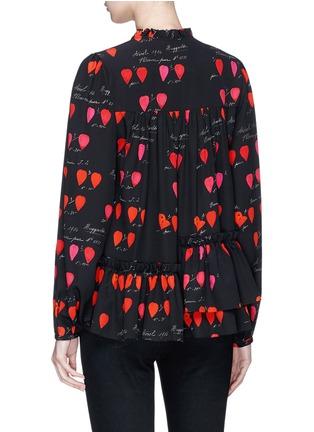 Back View - Click To Enlarge - Alexander McQueen - Asymmetric ruffle petal print silk blouse