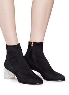 Sophia Webster 'Felicity' faux pearl glass crystal heel suede boots