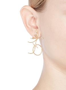 Xiao Wang 'Gravity' diamond 14k yellow gold mismatched earrings