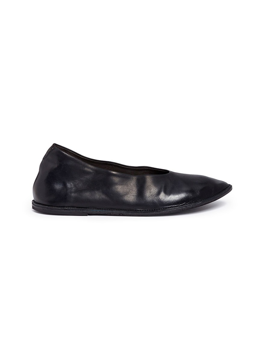 Sacchina distressed leather choked-up flats by Marsèll
