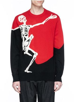 Main View - Click To Enlarge - Alexander McQueen - Dancing skeleton intarsia colourblock sweater