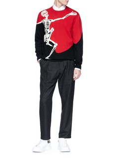 Alexander McQueen Dancing skeleton intarsia colourblock sweater