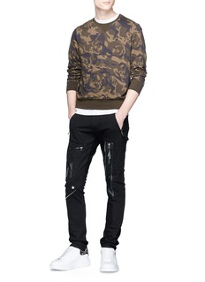 Alexander McQueen Leather zip panel biker jeans