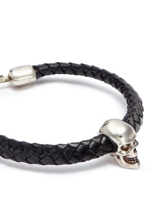 Detail View - Click To Enlarge - Alexander McQueen - Skull charm braided leather bracelet