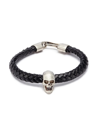 Main View - Click To Enlarge - Alexander McQueen - Skull charm braided leather bracelet