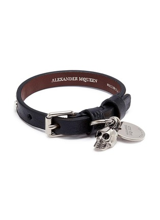 Main View - Click To Enlarge - ALEXANDER MCQUEEN - Skull charm stud leather bracelet