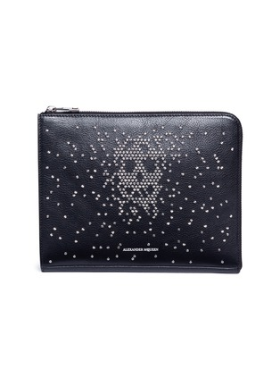 Main View - Click To Enlarge - Alexander McQueen - Skull stud calfskin leather zip pouch