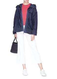 Moncler 'Obsidienne' drawstring back eyelet lace hooded cape jacket