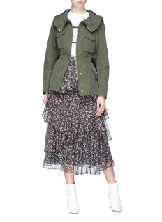 Moncler 'Sodalite' drawstring collar belted twill jacket