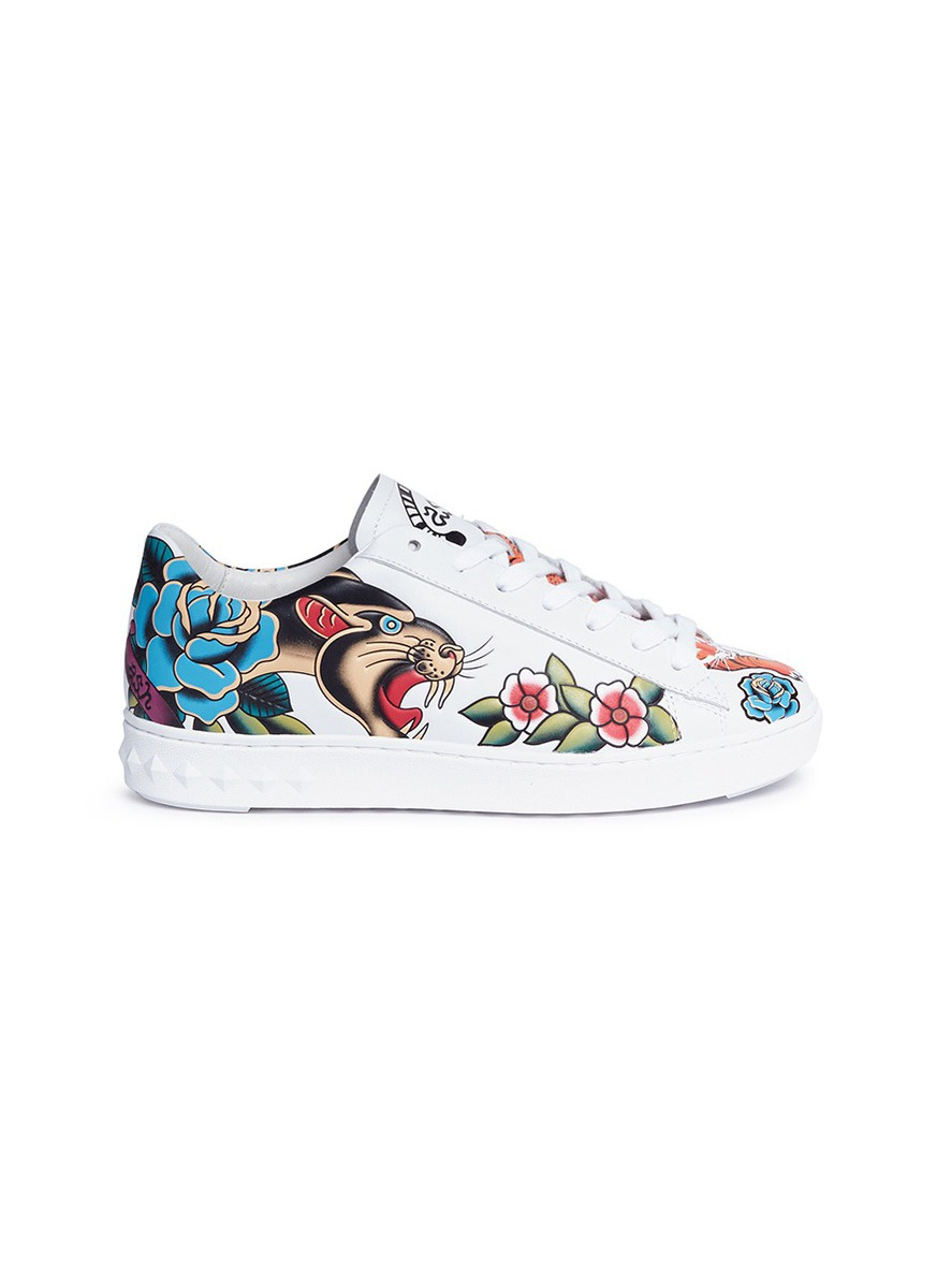 Panthera mixed print leather sneakers by Ash