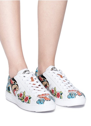Figure View - Click To Enlarge - Ash - 'Panthera' mixed print leather sneakers