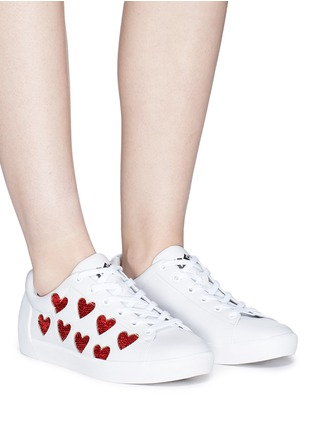 Figure View - Click To Enlarge - Ash - 'Nikita' sequin heart leather sneakers