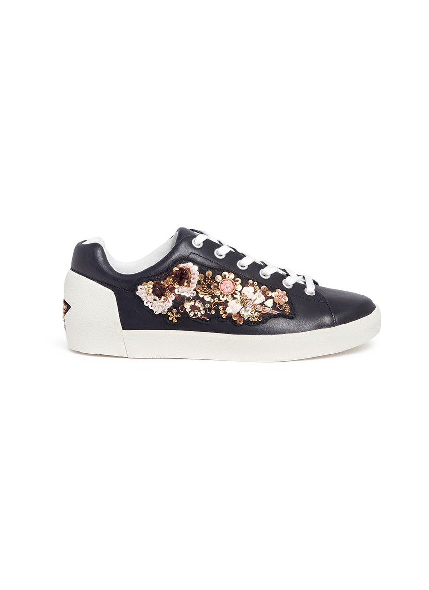 Photo of Naoki floral embellished leather sneakers by Ash womens shoes - buy Ash footwear online