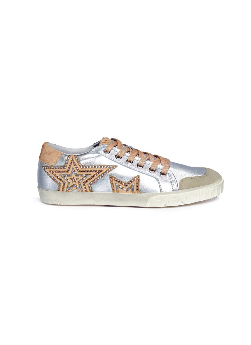 Magic star patch metallic leather sneakers by Ash