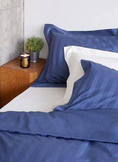 LANE CRAWFORD Stripe duvet king size set –Indigo