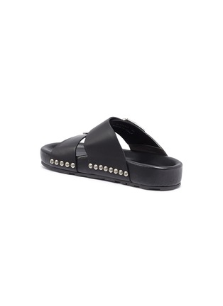Detail View - Click To Enlarge - ALEXANDER MCQUEEN - Hammered stud buckled leather slide sandals
