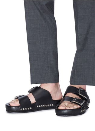 Figure View - Click To Enlarge - ALEXANDER MCQUEEN - Hammered stud buckled leather slide sandals