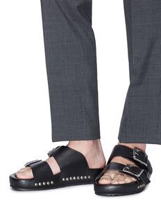 Alexander McQueen Hammered stud buckled leather slide sandals