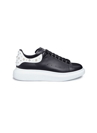 Main View - Click To Enlarge - ALEXANDER MCQUEEN - 'Oversized Sneaker' in leather with stud collar