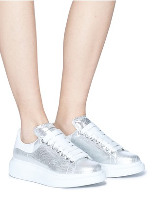 Figure View - Click To Enlarge - Alexander McQueen - 'Larry' chunky outsole metallic leather sneakers