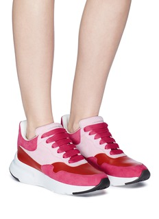 Alexander McQueen Chunky outsole colourblock suede and leather sneakers