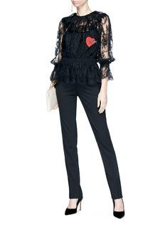 Dolce & Gabbana Heart appliqué smocked guipure lace top
