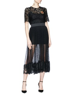Dolce & Gabbana Heart bullion patch guipure lace top