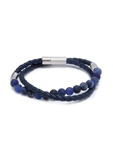 Tateossian 'Havana' double wrap sodalite leather bracelet
