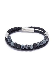 Tateossian 'Havana' double wrap snowflake obsidian leather bracelet