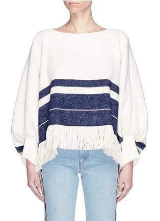 Main View - Click To Enlarge - Chloé - Fringe hem stripe sweater