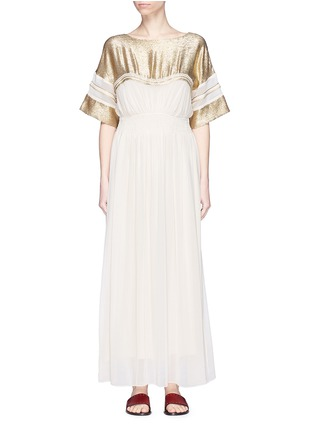 Main View - Click To Enlarge - Chloé - 'Robe' metallic yoke smocked chiffon maxi dress