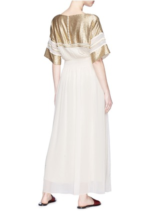 Figure View - Click To Enlarge - Chloé - 'Robe' metallic yoke smocked chiffon maxi dress