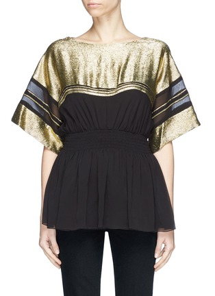 Main View - Click To Enlarge - Chloé - Metallic yoke mock corset peplum top