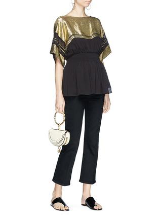 Figure View - Click To Enlarge - Chloé - Metallic yoke mock corset peplum top