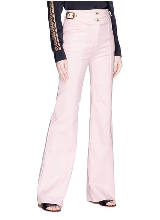 Front View - Click To Enlarge - Chloé - Buckled side flared jeans