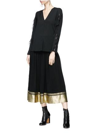 Figure View - Click To Enlarge - Chloé - Smocked waist lamé hem crepe midi skirt
