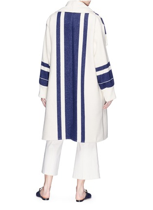 Back View - Click To Enlarge - Chloé - Fringe stripe knit coat
