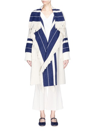 Main View - Click To Enlarge - Chloé - Fringe stripe knit coat