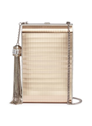 Main View - Click To Enlarge - JUDITH LEIBER - 'North South Rectangle' tassel metallic leather box clutch