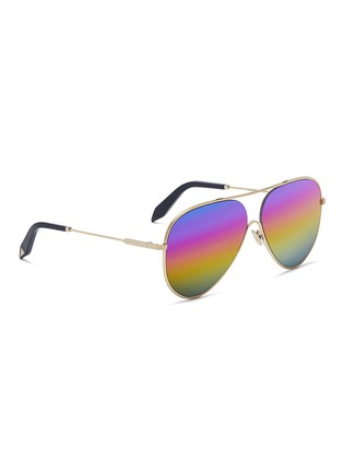 Figure View - Click To Enlarge - Victoria Beckham - 'Loop Aviator' metal mirror sunglasses