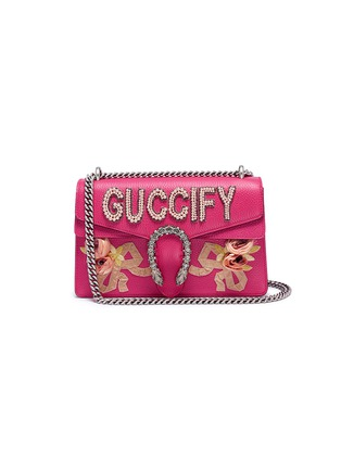 Main View - Click To Enlarge - GUCCI - 'Dionysus' slogan patch floral appliqué small leather shoulder bag
