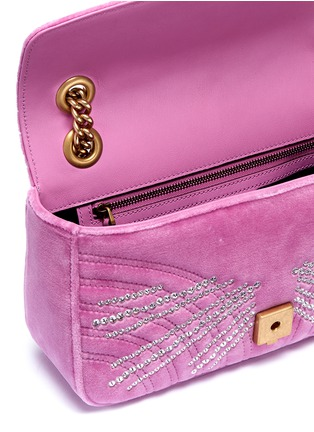 Detail View - Click To Enlarge - GUCCI - 'GG Marmont' glass crystal small quilted velvet crossbody bag
