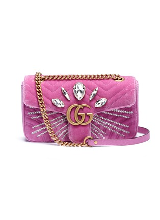 Main View - Click To Enlarge - GUCCI - 'GG Marmont' glass crystal small quilted velvet crossbody bag