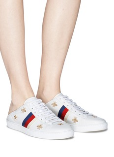 Gucci 'Ace' embroidered Web stripe leather step-in sneakers