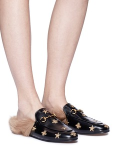 Gucci 'Princetown' embroidered lamb fur leather slide loafers