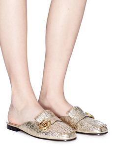 Gucci 'Marmont' cracked leather kiltie slippers
