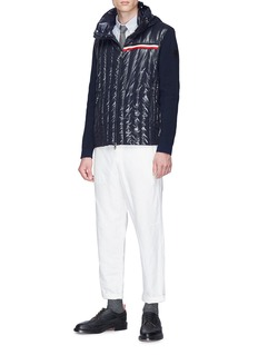 Moncler Logo print retractable hood down puffer cardigan