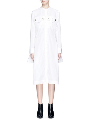 Main View - Click To Enlarge - CALVIN KLEIN 205W39NYC - Asymmetric hem stripe shirt dress