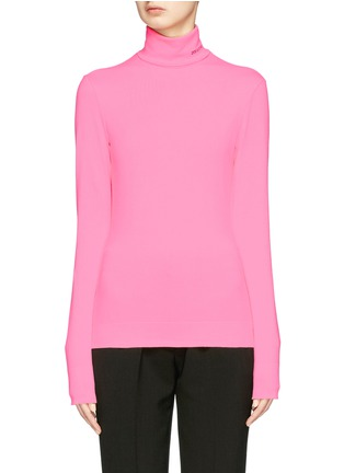 Main View - Click To Enlarge - CALVIN KLEIN 205W39NYC - Logo embroidered long sleeve turtleneck T-shirt